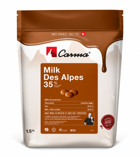 Carma Kuvertüre Vollmilch - Milk Des Alpes 35% - 250 g Beutel -NEU-