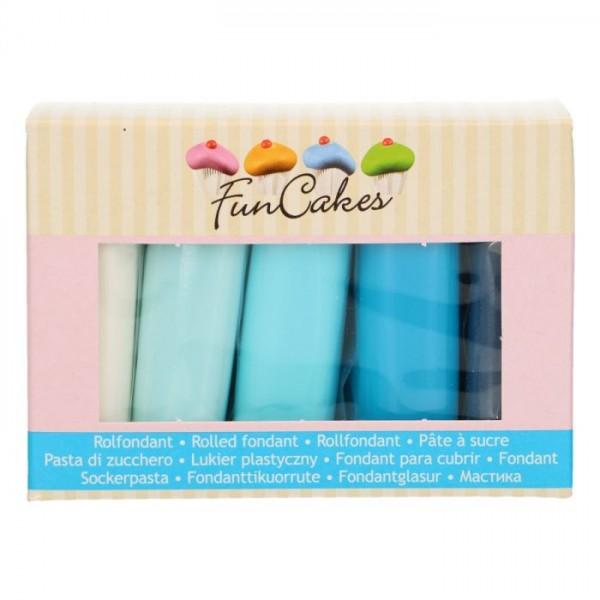 FunCakes Fondant Set mit Blautönen und weiß 5 x 100 g