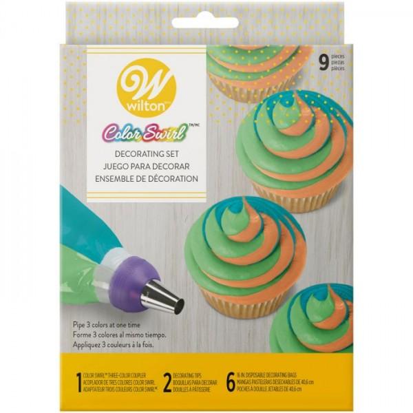 Wilton ColorSwirl Tri-Color Coupler Decorating 9-teiliges Set