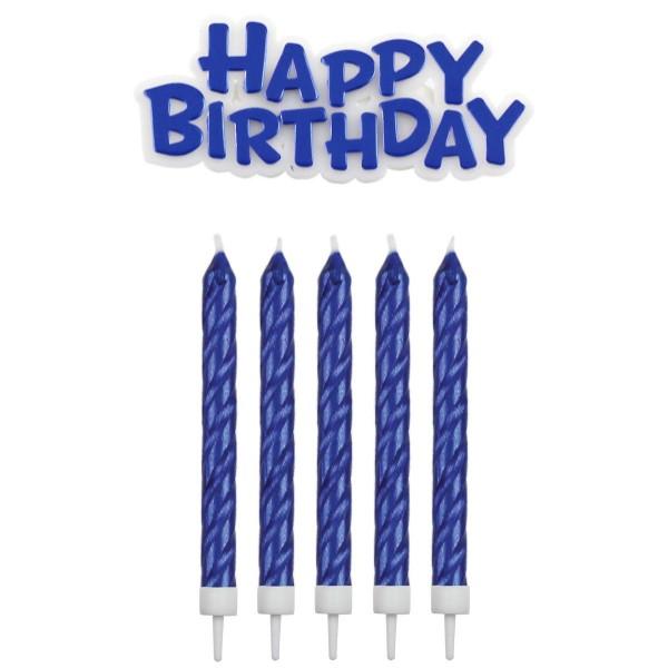 Kerzen blau mit Happy Birthday Schriftzug