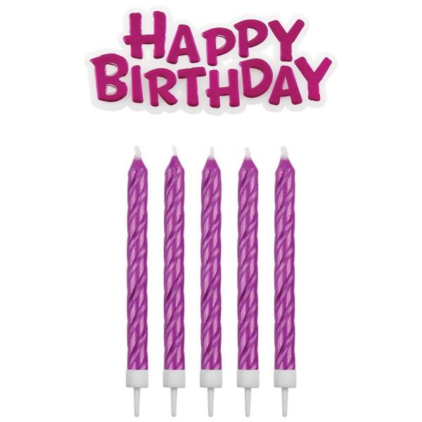 Kerzen pink mit Happy Birthday Schriftzug