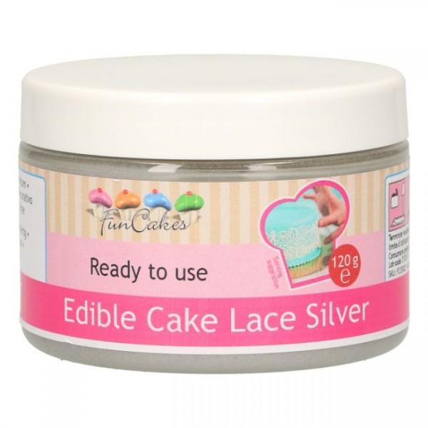 Essbare Spitze / Cake Lace SILBER gebrauchsfertig