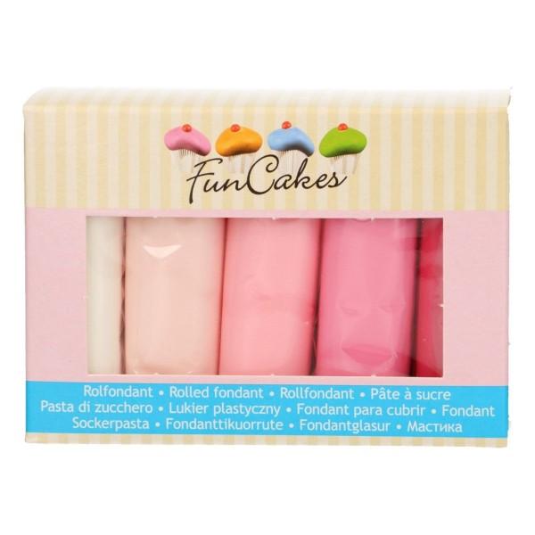 FunCakes Fondant Set mit Rosatönen und weiß 5 x 100 g