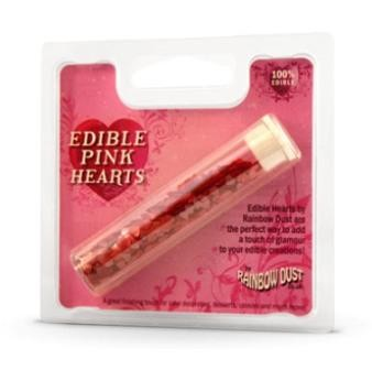 Glitter-Herzen pink - Edible pink hearts