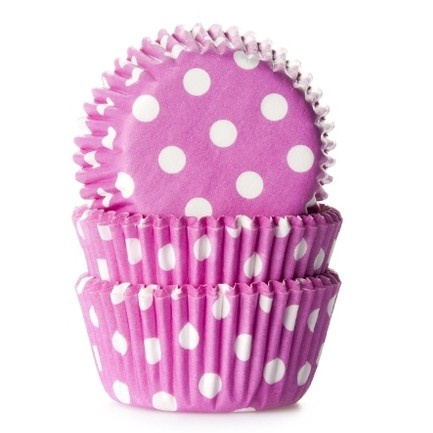 House of Marie Mini Baking cups Polkadot Pink - pk/60