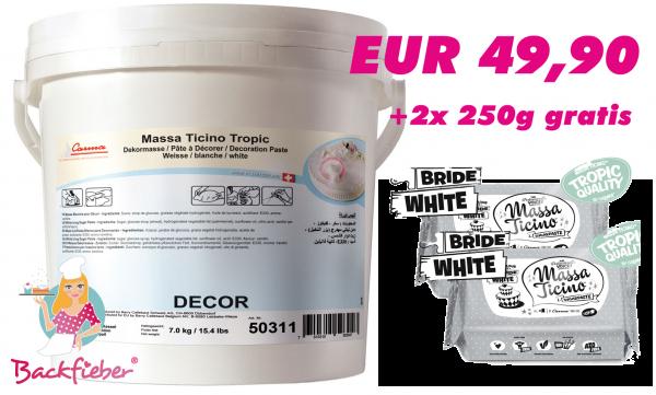 Massa Ticino™ Tropic weiß 7 kg Eimer + 2 x 250g braun/ivory/rot/purple/schwarz gratis!!