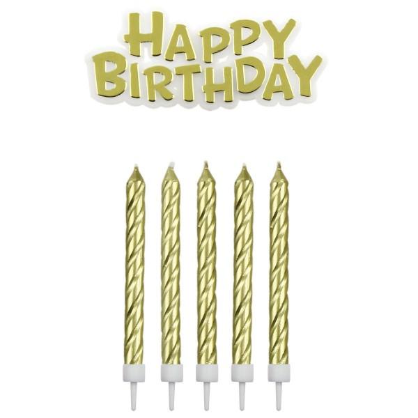 Kerzen gold mit Happy Birthday Schriftzug