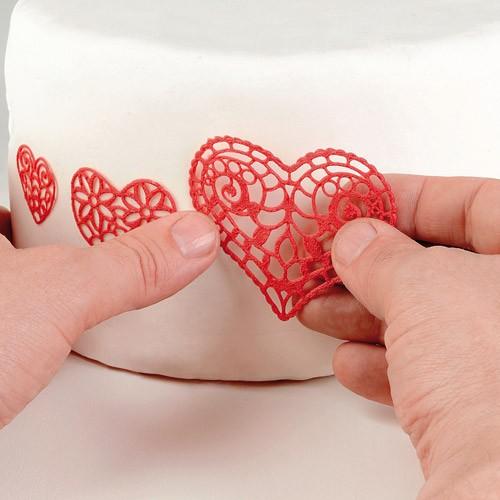 Essbare Spitze/Lace Form aus Silikon - Hearts