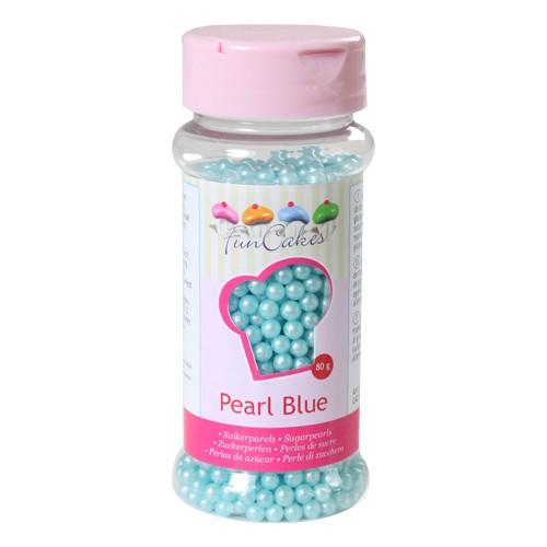 Zuckerperlen perlmutt blau 4 mm