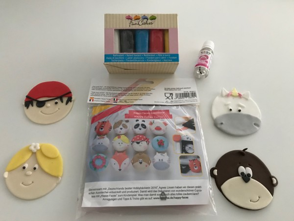 SET: Happy Faces Ausstecher + Fondant + Kleber