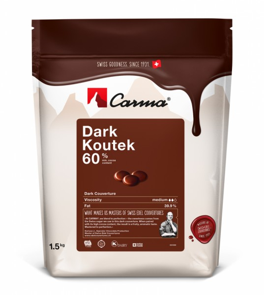 Carma Kuvertüre Dunkel - Dark Koutek 60% - 250g Beutel - NEU -