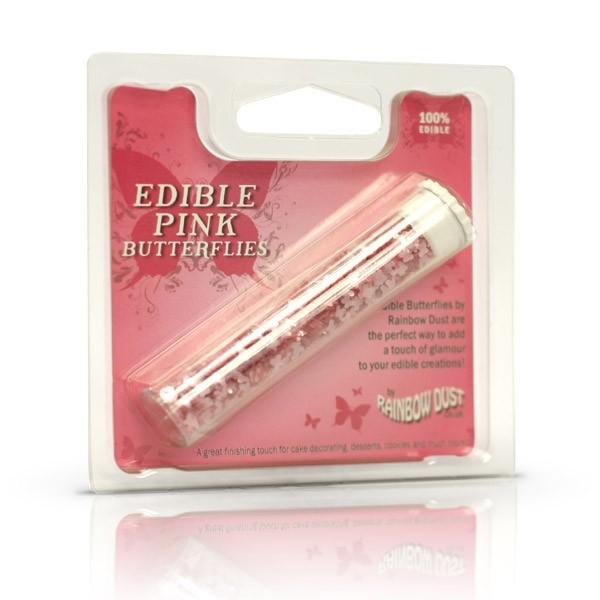 Glitter-Schmetterlinge pink - Edible pink butterflies