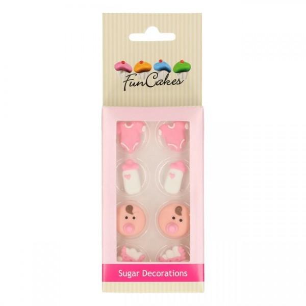 Zuckerdekoration Baby Mädchen rosa 8 St.
