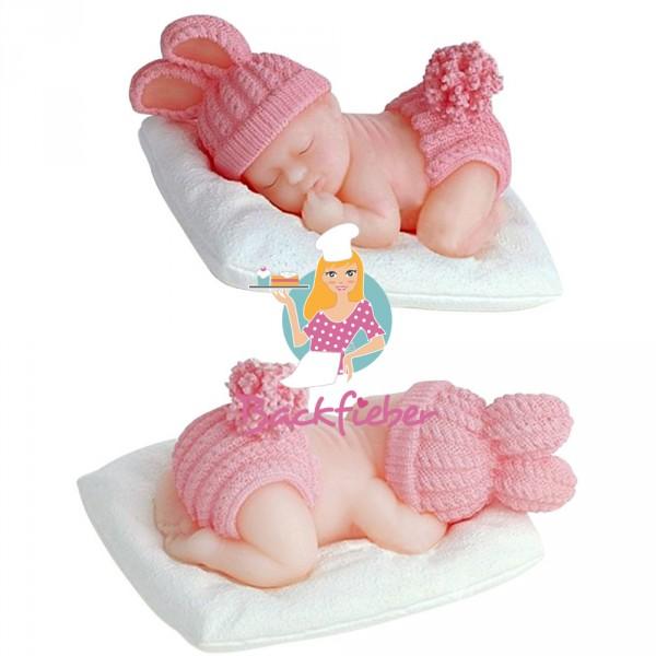 Silikonform Baby mit Strickmützchen ca. 5,5 cm