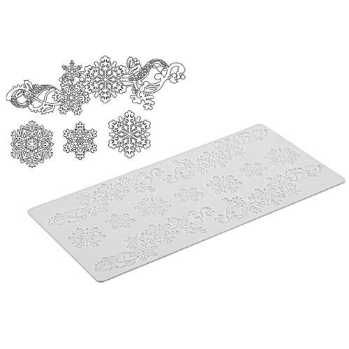 Essbare Spitze/Lace Form aus Silikon - große Schneeflocken -