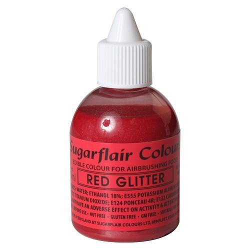 Sugarflair Airbrush Lebensmittelfarbe rot glitzer 60 ml
