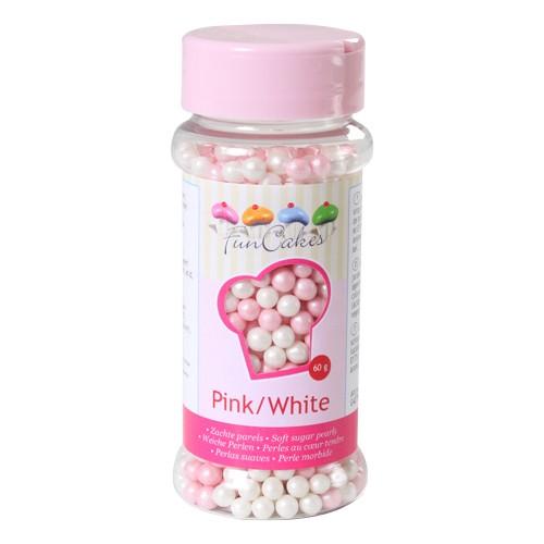Weiche Dekorperlen pink/weiß 60 g