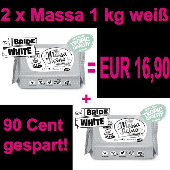 Massa Ticino™ weiß 2 x 1 kg Flowpack DOPPELPACK