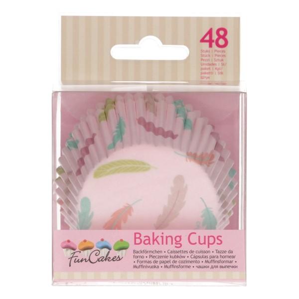 Papierbackförmchen 50 mm Federn pastell pink - 48 Stück - neu!