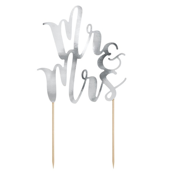 PartyDeco Cake Topper Mr & Mrs - Silber