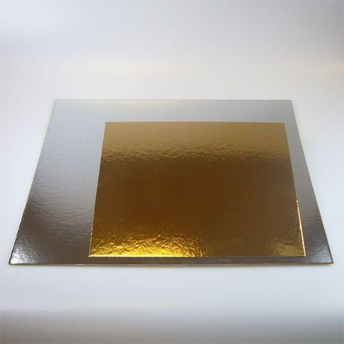 Tortenunterlage 1 mm silber/gold quadratisch 35 x 35 cm