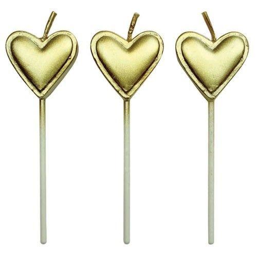Herzkerzen gold 8 Stück